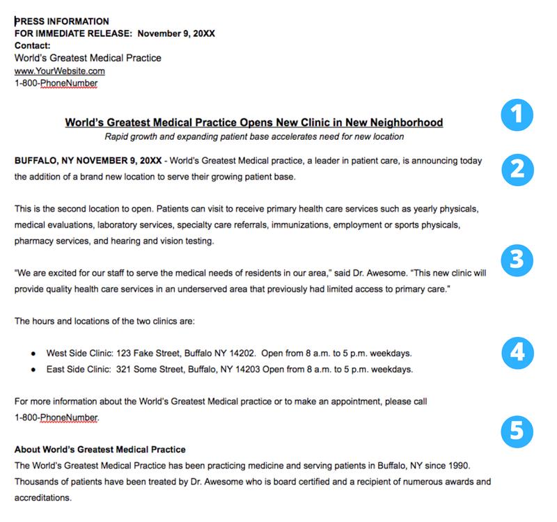 healthcare press release template new location
