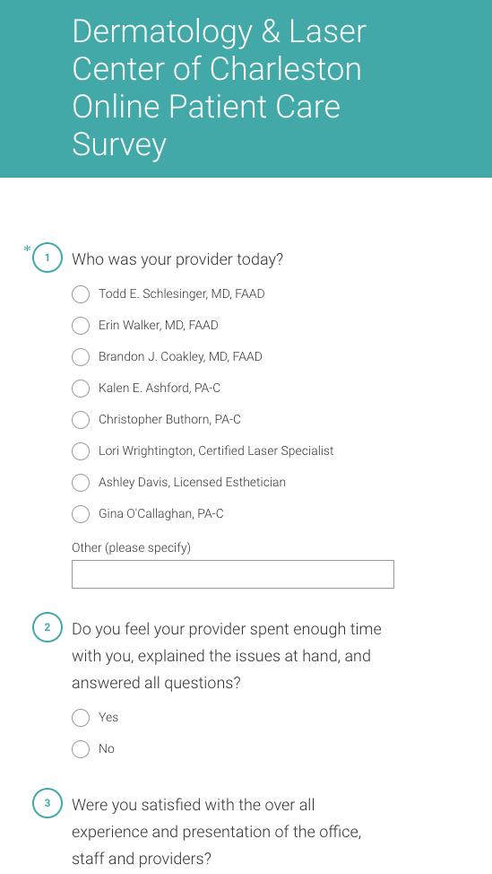 patient survey example