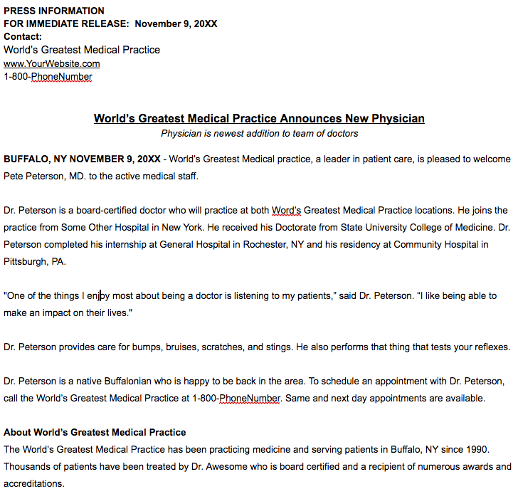 healthcare press release template new physician