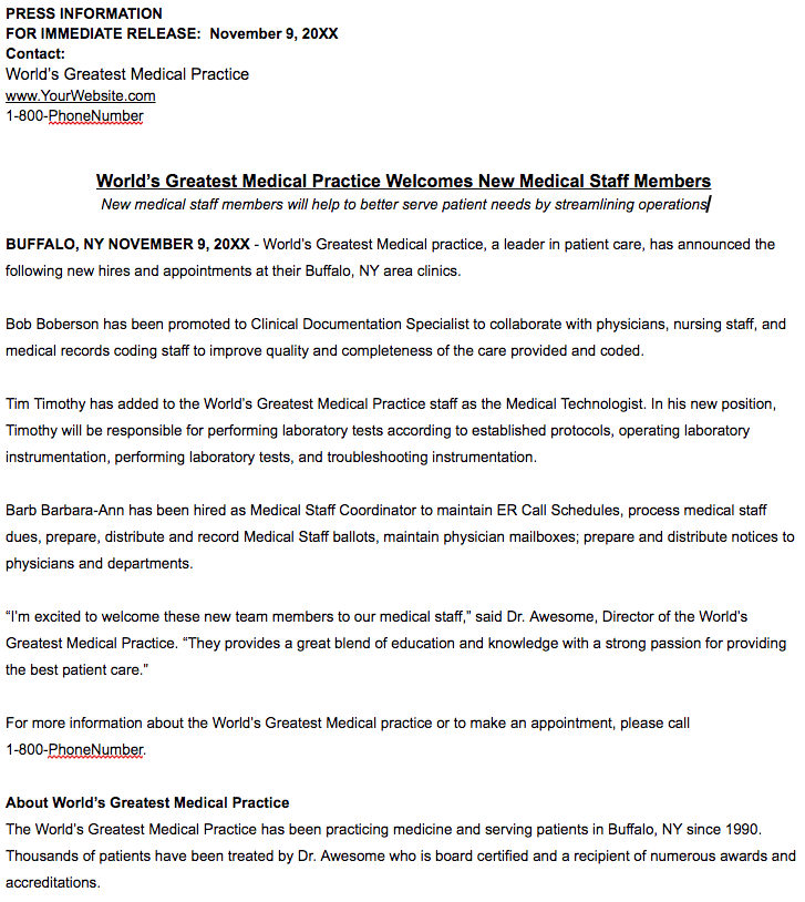 healthcare press release template new staff hires