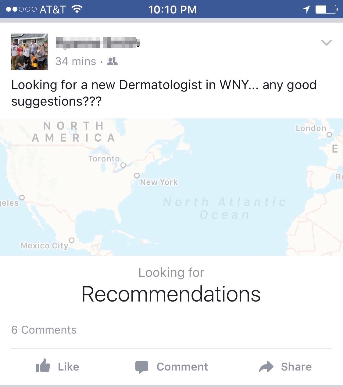 """You can see the prominent """"Recommendations"""" message in the Facebook post above."""