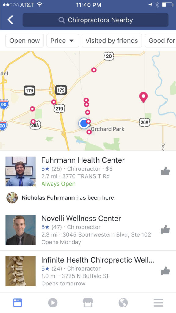 "Facebook search for ""Chiropractors Nearby"""