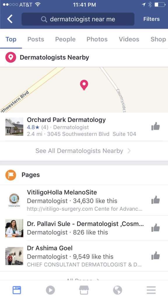 "Facebook search for ""Dermatologist Near Me"""