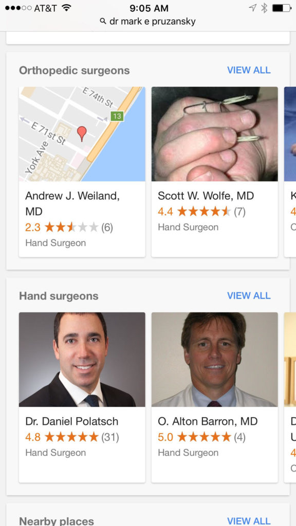 "A mobile Google search for ""Dr Mark Pruzansky MD"" shows the doctor and practice carousels near the bottom of the search results page."