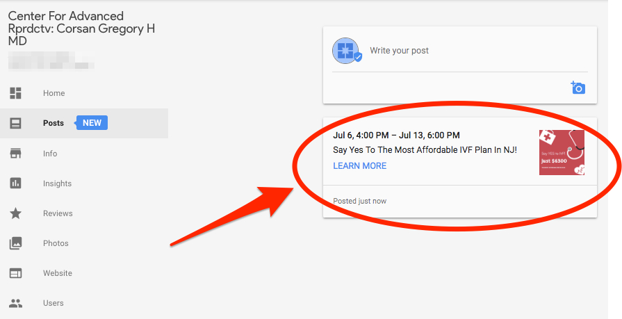 Google My Business Posts Publish Post