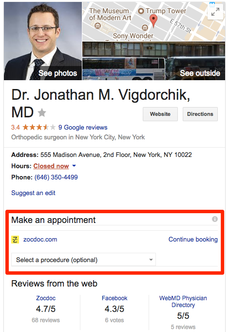 google posts offers from doctors on google maps and search