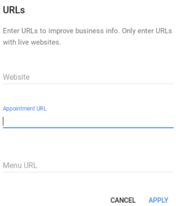 Google My Business Add Appointment URL